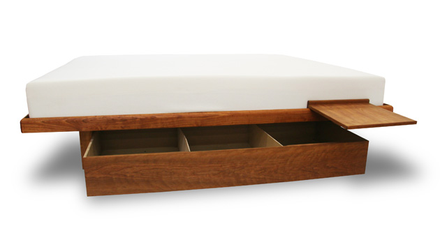 cherry floating platform storage bed
