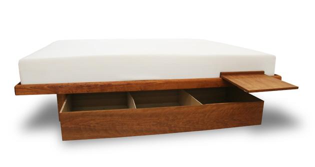 Cherry Floating Platform Storage Bed